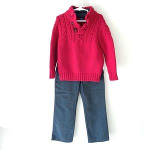 Gap red cable sweater with Gray dress pants size 5